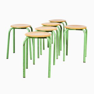 French Stacking School Stools in Mint, 1960s, Set of 6