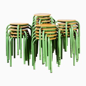 French Stacking School Stools in Mint, 1960s, Set of 24