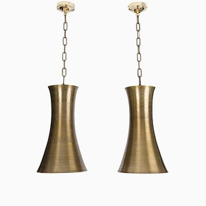 Bronzefarbene Sanduhr Hängelampen, 2er Set