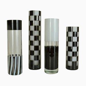 Black and White Glass Vases, Set of 4
