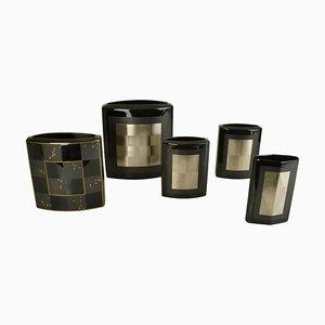 Schwarze Studio-Line Vasen aus Porzellan von Dresler & Treyden für Rosenthal, 5er Set