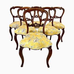 Antike viktorianische Esszimmerstühle aus geschnitztem Palisander, 6er Set