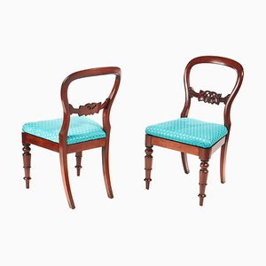 Antique Victorian Mahogany Balloon Back Side Chairs, Set of 2