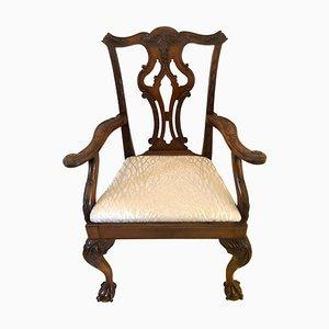 Chaise de Bureau Victorienne Antique en Acajou Sculpté