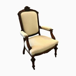 Antique Victorian Carved Rosewood Library Chair