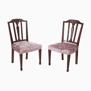 Chaises d'Appoint Style Hepplewhite Antiques en Acajou, Set de 2
