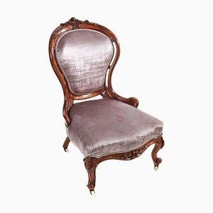 Chaise Victorienne Antique en Noyer Sculpté