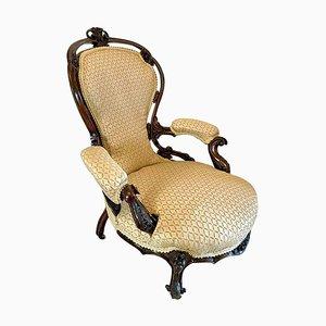 Victorian Walnut Carved Armchair