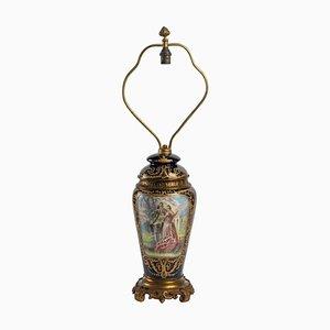 Lampenständer aus Porzellan und vergoldeter Bronze