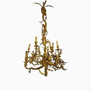 Large Gilt Bronze and Chased Chandelier