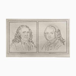 Thomas Holloway, Portrait of Voisin and Henault, Etching, 1810