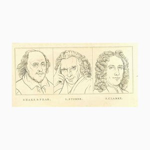 Thomas Holloway, Portrait of Shakespeare, Sterne and Clarke, Etching, 1810