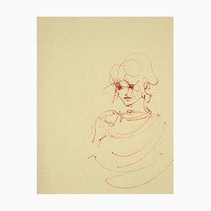 Leonor Fini, Woman's Portrait, Lithograph on Cardboard, 1970