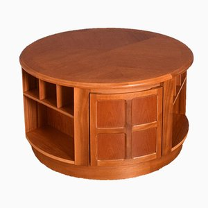 Teak Round Squared Drum Coffee Table from Nathan