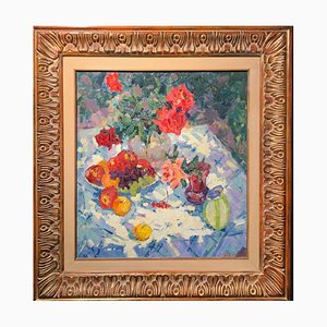 Gennady Bernadsky, Roses and Fruit, Oil Painting