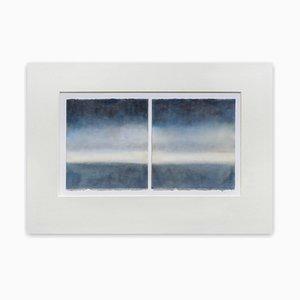 Indigo on Grey, Abstract Painting, 2015