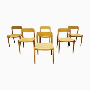 Modell 75 Esszimmerstühle von Niels Otto Moller, 1960er, 6er Set