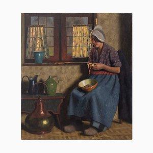Wilhelm Gdanietz, Scène d'intérieur avec une femme épluchant des pommes de terre