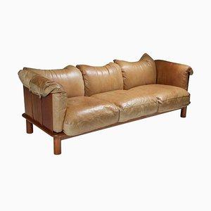 Camel Leather and Walnut Sofa by De Pas, Durbino Lomazzi for Padova, Italy