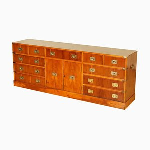 Burr Yew Wood & Brass Military Campaign Chest of Drawers