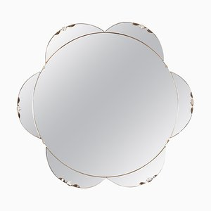 Amber / Peach in Shape of a Flower Bevelled Mirror, 1930s