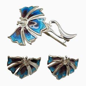 Jugendstil Brosche und Ohrringe aus Silber und Emaille, 3er Set