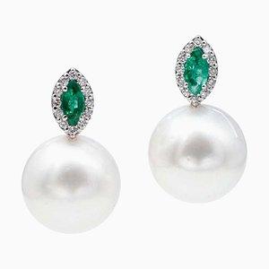Emeralds, White Pearls, White Diamonds & 14 Karat White Gold Stud Earrings