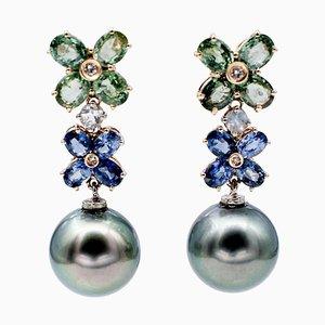 Blaue und Grüne Saphir Diamant Mondschein Graue Perlen 14kt Roségold Ohrringe