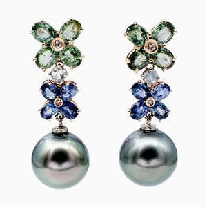 Blue and Green Sapphire Diamond Moonlight Gray Pearls 14kt Rose Gold Earrings