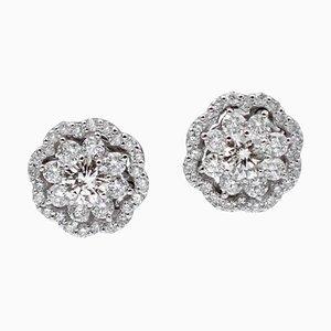 1.65 Carat White Diamonds & 18 Karat White Gold Flower Stud Earrings