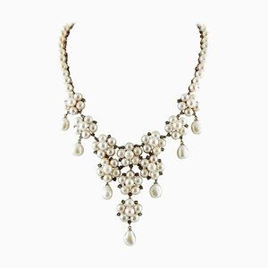 Handcrafted Flower Shape Beaded Drop Necklace with Diamonds, White Pearls, 9 Karat Rose Gold & Silver