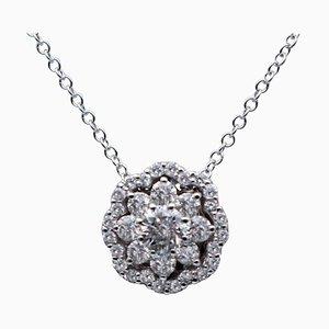 0.81 Carat White Diamonds & 18 Karat White Gold Flower Pendant Necklace