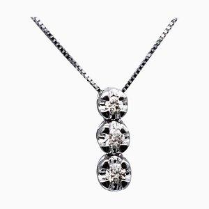Diamonds & 18 Karat White Gold Pendant Necklace