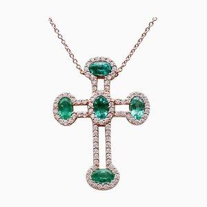 Halskette mit Kreuz, Smaragden, Weißen Diamanten und 18 Karat Roségold