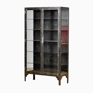 Vintage Iron and Glass Medical Display Cabinet, 1930s