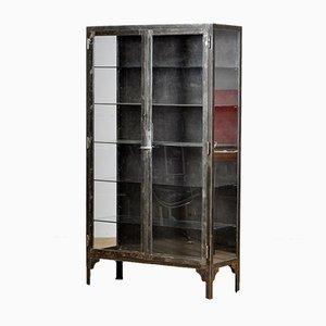 Vitrina médica vintage de hierro y vidrio, años 30