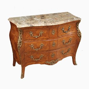 French Louis XV Style Inlaid Dresser with Marble Top