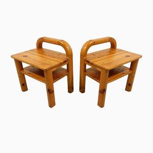 Pine Night Tables, 1970s, Set of 2