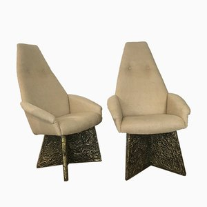 Brutalist High Back Armchairs Attributed to Adrian Pearsall, Set of 2
