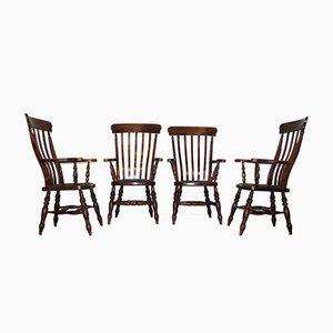 English Victorian Windsor Farm Chairs, Set of 4