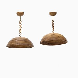 Rattan Ceiling Lamps, 1970s, Set of 2
