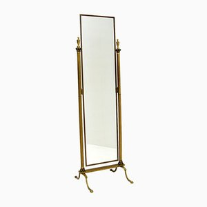 Antique Neoclassical Style Brass Cheval Mirror by Peerage