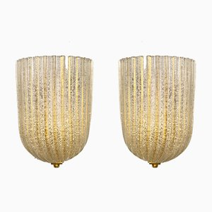 Murano Wall Lamps from Barovier & Toso, Italy, 1970s, Set of 2