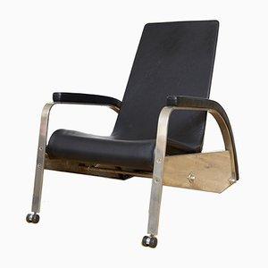 Deutscher Modell D80 Grand Repos Sessel aus Stahl & Rindsleder von Jean Prouvé für Tecta, 1980er