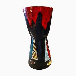 Mid-Century Modern Hand-Painted Ceramic Vase by Bini & Carmignani, Italy, 1960s