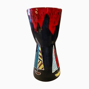 Vase Mid-Century Moderne en Céramique Peinte à la Main par Bini & Carmignani, Italie, 1960s