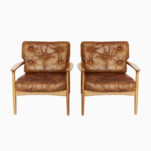 Mid-Century Cherry Lounge Chair by Eugen Schmidt for Soloform, 1950s, Set of 2