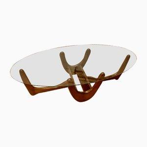 Table Basse Ovale en Noyer de Maison Kroehler, USA, 1960s