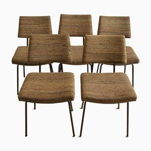 Mid-Century Esszimmerstühle aus Stahl & Stoff, 1960er, 5er Set