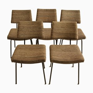 Mid-Century Steel and Fabric Dining Chairs, 1960s, Set of 5
